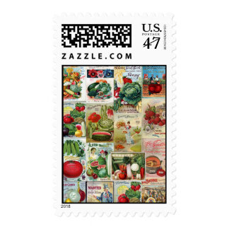 Fruit and Veggies Seed Catalog Collage Stamp