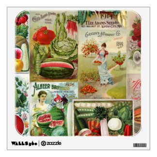Fruit and Veggies Seed Catalog Collage Room Decal