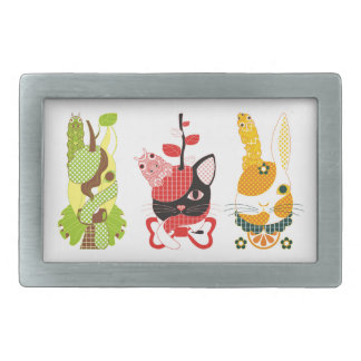 "Fruit animal ""pear horse"" ""apple cat"" ""tangerine rectangular belt buckle"