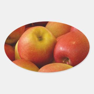 Fruit Apples Autumn Colors Destiny Oval Sticker