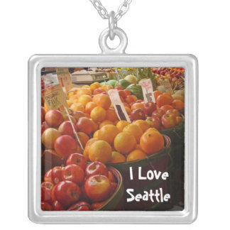 Fruit at Pikes Place Market Square Pendant Necklace