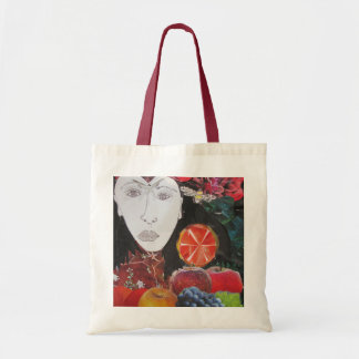Fruit Bag, orange, apple, grapes, face Tote Bag