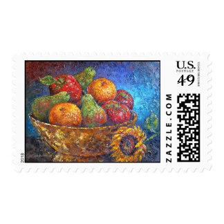 Fruit Basket Painting Art - Multi Postage Stamp