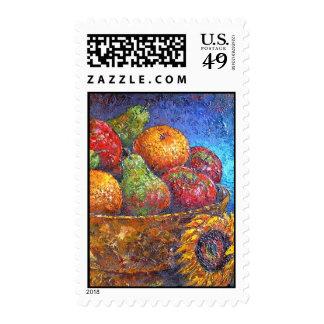 Fruit Basket Painting Art - Multi Stamp