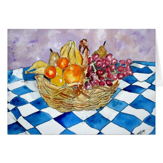 fruit basket still life banana grape greeting card