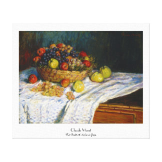 Fruit Basket with Apples and Grapes Claude Monet Canvas Print