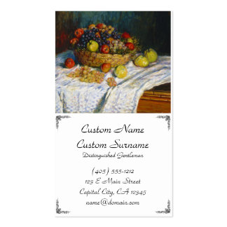 Fruit Basket with Apples and Grapes Claude Monet Double-Sided Standard Business Cards (Pack Of 100)
