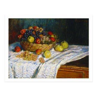 Fruit Basket with Apples and Grapes Claude Monet Postcard