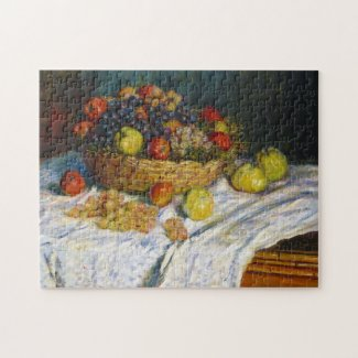 Fruit Basket with Apples and Grapes Claude Monet Puzzle