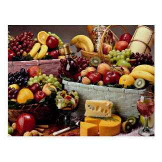 Fruit baskets, mixed fruit and cheeses postcards