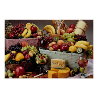 Fruit baskets, mixed fruit and cheeses poster