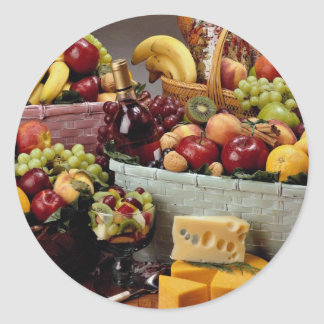 Fruit baskets, mixed fruit and cheeses round stickers