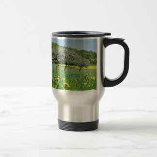 Fruit bloom time in a sea from dandelion and RAP Travel Mug