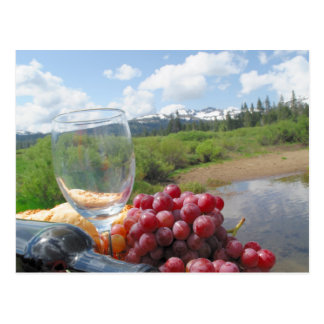 Fruit Bread And Wine Picnic Postcard