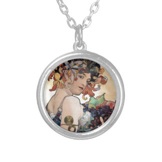 Fruit by Alfons Mucha 1897 Silver Plated Necklace