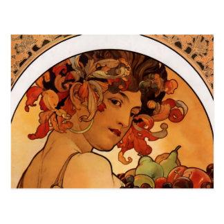 """Fruit"" by Alphonse Mucha postcard"
