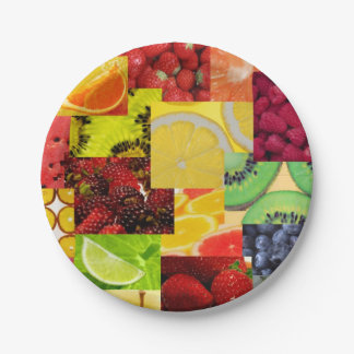 Fruit Collage Paper Plate 7 Inch Paper Plate