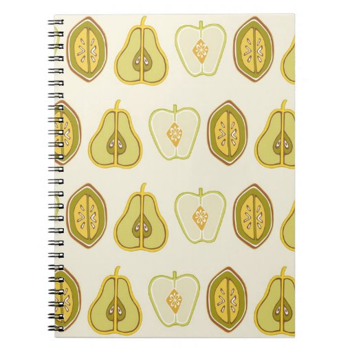 Fruit Design Apples Pears Avocados Kitchen Gifts Spiral Notebooks