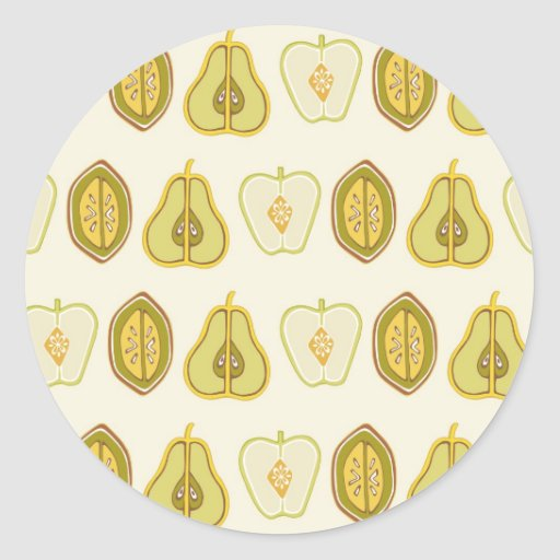 Fruit Design Apples Pears Avocados Kitchen Gifts Round Stickers