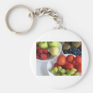 Fruit display basic round button keychain