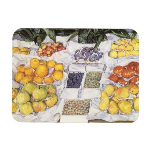 Fruit Displayed on a Stand by Gustave Caillebotte Rectangle Magnet