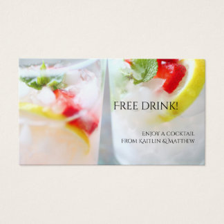 Fruit drink with lemon and strawberries business card