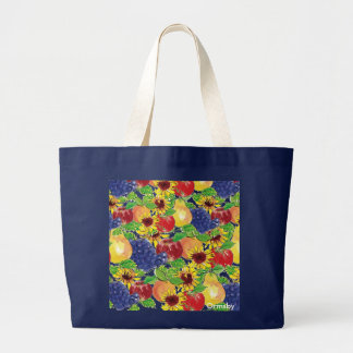 Fruit-&-Flowers- x-large Large Tote Bag