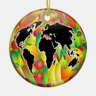 Fruit Globe Ceramic Ornament
