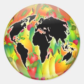 Fruit Globe Round Stickers