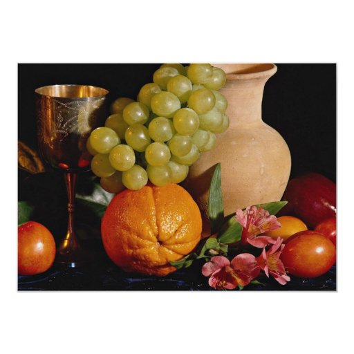 Fruit, goblet and jug 5x7 paper invitation card