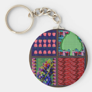 Fruit graphics Grapes Raspberry Tree Pomgranate Keychain
