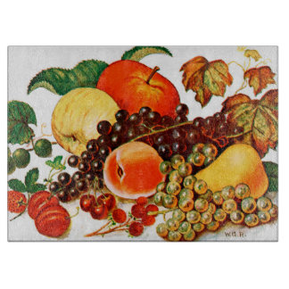 Fruit Harvest Large Glass Cutting Board