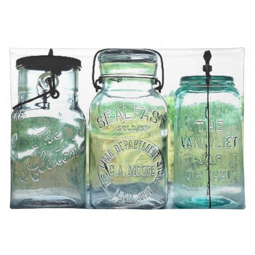 Fruit Jar Collector Antiques Vintage Mason Jars Cloth Placemat