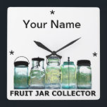 "Fruit Jar Collector w/YourName Vintage Mason Jars Square Wall Clock<br><div class=""desc""></div>"