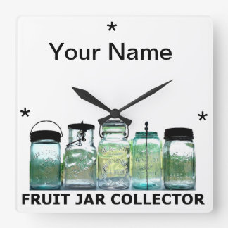 Fruit Jar Collector w/YourName Vintage Mason Jars Square Wall Clock