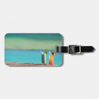 Fruit juices on the beach travel bag tag