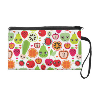 fruit kids illustration apple wristlet purse