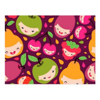 Fruit kids pattern postcard