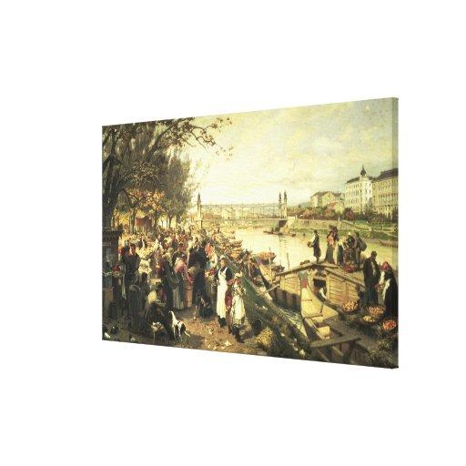 Fruit market in Schazel Stretched Canvas Prints