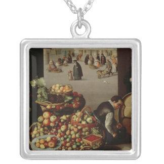 Fruit Market Square Pendant Necklace