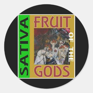 FRUIT OF THE GODS SATIVA ROUND STICKER