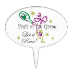 Fruit of the Grape Red Wine, Let it Pour! Cake Topper