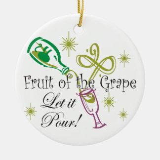 Fruit of the Grape White Wine, Let it Pour! Christmas Ornament