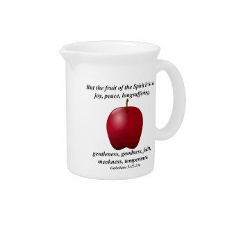 Fruit of the Spirit Apple with Bible Verse Drink Pitchers