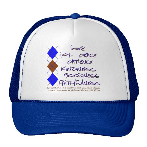 fruit of the spirit blue and brown mesh hats
