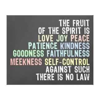 Fruit of the Spirit Chalkboard Look Bible Verse Canvas Print