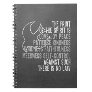 Fruit of the Spirit Chalkboard Look with Dove Spiral Notebook