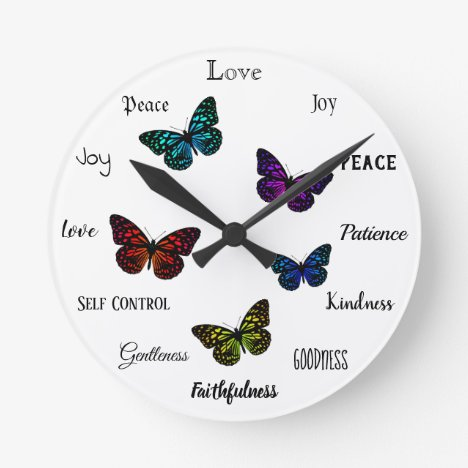 Fruit of the Spirit Christian Virtues Butterfly Round Clock