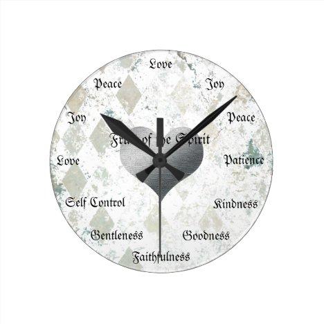 Fruit of the Spirit Christian Virtues Vintage Gold Round Clock