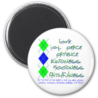 fruit of the spirit green and blue 2 inch round magnet